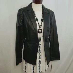 🆕️Hal Rubenstein Leather Blazer Jacket Black